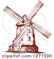 Clipart Of A Brown Vintage Windmill 3 Royalty Free Vector Illustration