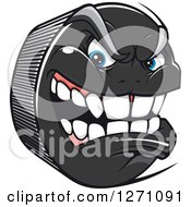 Clipart Of A Tough Aggressive Hockey Puck Character Royalty Free Vector Illustration