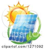 Clipart Of A Sun Behind A Solar Panel Encircled With A Swoosh And Green Leaves Royalty Free Vector Illustration