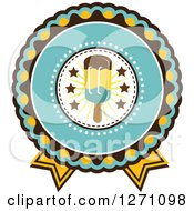 Clipart Of A Yellow Turquoise And Brown Rosette Popsicle Design Royalty Free Vector Illustration by Vector Tradition SM