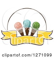 Clipart Of A Blank Yellow Banner And Circle With Waffle Ice Cream Cones Royalty Free Vector Illustration