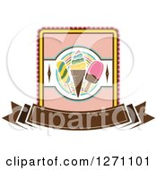 Popsicle And Ice Cream Cone Design With A Blank Brown Banner