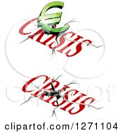 Clipart Of 3d Green Euro And Financial Crisis Designs Royalty Free Vector Illustration