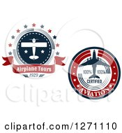 Clipart Of Red White And Blue Commercial Airliner And Small Plane Tour Circles Royalty Free Vector Illustration