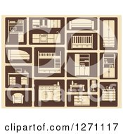 Clipart Of Tan And Brown Furniture Icons Royalty Free Vector Illustration by Vector Tradition SM