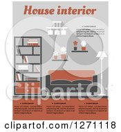 Clipart Of A Gray And Orange Living Room With Sample Text Royalty Free Vector Illustration by Vector Tradition SM