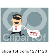 Clipart Of A Tax Man Robber Running On Blue Royalty Free Vector Illustration by Vector Tradition SM