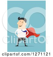 Clipart Of A Posing Super Business Man On Blue Royalty Free Vector Illustration by Vector Tradition SM