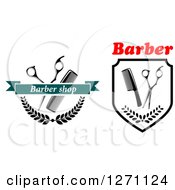 Clipart Of Barber Shop Designs With Scissors Combs And Wreaths Royalty Free Vector Illustration