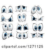 Clipart Of Expressional Blue Eyes Royalty Free Vector Illustration