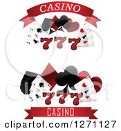 Clipart Of Triple Lucky Sevens And Playing Cards And Shapes With Casino Text Royalty Free Vector Illustration