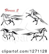Clipart Of Black And White Rearing And Running Horses With Red Text Royalty Free Vector Illustration
