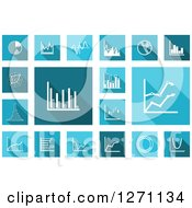 Clipart Of Square Blue And Teal Icons With White Financial Charts And Graphs Royalty Free Vector Illustration by Vector Tradition SM