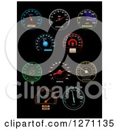 Clipart Of Colorful Illuminated Speedometers On Black Royalty Free Vector Illustration by Vector Tradition SM