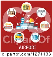 Clipart Of Airport Text Under A Building And Travel Icons On Red Royalty Free Vector Illustration by Vector Tradition SM