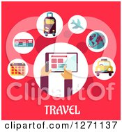 Clipart Of Travel Text Under A Tablet And Icons On Pink Royalty Free Vector Illustration