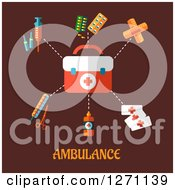 Clipart Of Ambulance Text Under First Aid Items On Brown Royalty Free Vector Illustration