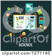 Clipart Of Science Text Under Formulas And Symbols On Green Royalty Free Vector Illustration
