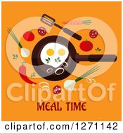 Poster, Art Print Of Meal Time Text Under A Frying Pan And Veggies On Orange