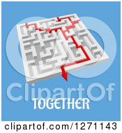 Clipart Of A 3d Maze With Red Lines Merging And Completing The Task Over Blue With Together Text Royalty Free Vector Illustration by Vector Tradition SM