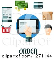 Clipart Of Order Text Under A Tablet Surrounded By Retail Icons Royalty Free Vector Illustration