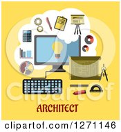 Clipart Of Architect Text Under A Computer With Financial Icons On Yellow Royalty Free Vector Illustration by Vector Tradition SM