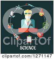 Clipart Of Science Text Under A Man In A Circle Of Icons On Green Royalty Free Vector Illustration by Vector Tradition SM