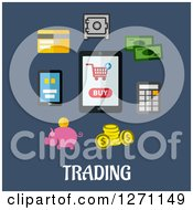 Clipart Of Trading Text Under Gadgets And Financial Icons On Blue Royalty Free Vector Illustration