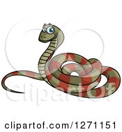Brown And Green Cartoon Striped Snake