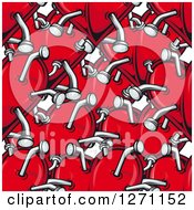 Clipart Of A Seamless Background Pattern Of Red Hearts Stabbed With Nails Royalty Free Vector Illustration