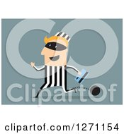 Clipart Of A White Shackled Robber Running With A Credit Card On Blue Royalty Free Vector Illustration by Vector Tradition SM