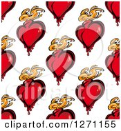 Clipart Of A Seamless Background Pattern Of Red Flaming Hearts Royalty Free Vector Illustration