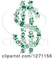 Clipart Of Green Finance Icons Forming A Dollar Currency Symbol Royalty Free Vector Illustration