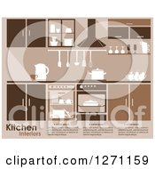 Clipart Of A Brown Kitchen Interior With Sample Text Royalty Free Vector Illustration by Vector Tradition SM