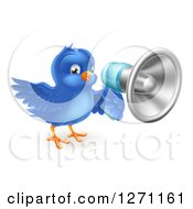 Clipart Of A Happy Blue Bird Announcing With A Megaphone Royalty Free Vector Illustration