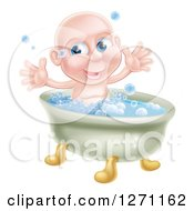Happy Bald Blue Eyed Caucasian Baby Boy In A Bath Tub