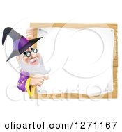 Clipart Of A Happy Senior Wizard Pointing Around A Posted Notice Sign On Wood Royalty Free Vector Illustration by AtStockIllustration