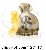 Clipart Of A 3d Gold Man Leaning Against A Large Dollar Money Bag Royalty Free Vector Illustration