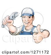 Clipart Of A Cartoon Brunette Caucasian Mechanic Man Holding An Adjustable Wrench And Thumb Up Over A Sign Royalty Free Vector Illustration