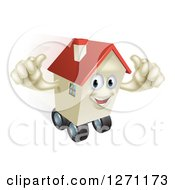 Clipart Of A Happy House Character Holding Two Thumbs Up And Rolling On Wheels Royalty Free Vector Illustration