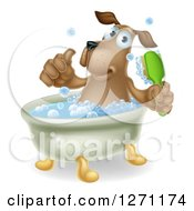 Clipart Of A Happy Brown Dog Soaking In A Bath Giving A Thumb Up And Holding A Scrub Brush Royalty Free Vector Illustration