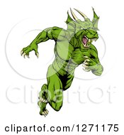 Clipart Of A Muscular Aggressive Green Dragon Man Mascot Running Upright Royalty Free Vector Illustration