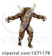 Clipart Of A Snarling Brown Bull Man Minotaur Monster Mascot Attacking Royalty Free Vector Illustration