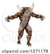 Snarling Brown Bull Man Minotaur Monster Mascot Attacking