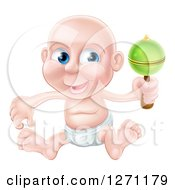 Clipart Of A Bald Blue Eyed Caucasian Baby Boy Sitting In A Diaper And Shaking A Rattle Royalty Free Vector Illustration by AtStockIllustration