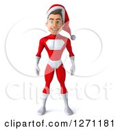 Clipart Of A 3d Young Super Hero Santa Royalty Free Illustration by Julos