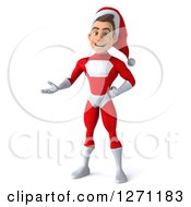 3d Young Super Hero Santa Presenting