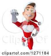 3d Young Super Hero Santa Flying Forward