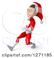 3d Young Super Hero Santa Walking To The Left With Big Strides