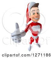 3d Happy Young Super Hero Santa Holding Up A Thumb